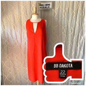 LIKE NEW WOMENS BB DAKOTA CORAL ORANGE MAXI DRESS